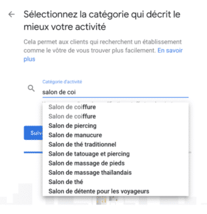 categorie activite google my business kiute reservation en ligne